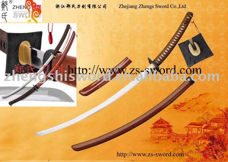 Cartoon Sword-Cosplay Sword-Anime Extreme Curve Custom Handmade Katana W/Red Pendent