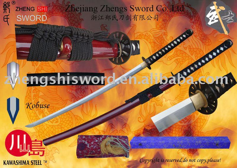 Handmade Cay-Tempered Kobuse Wined-Red Saya Sword