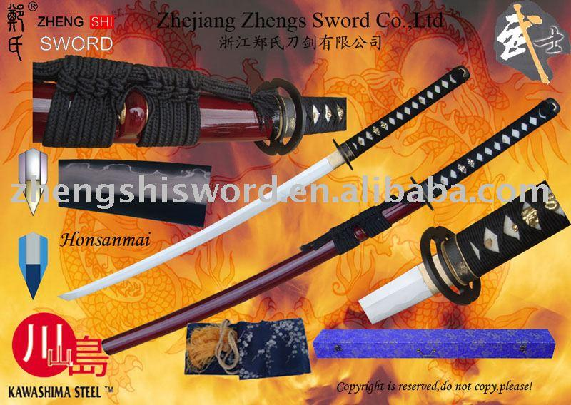 Handmade Cay-Tempered Honsanmai Wined-Red Saya Sword