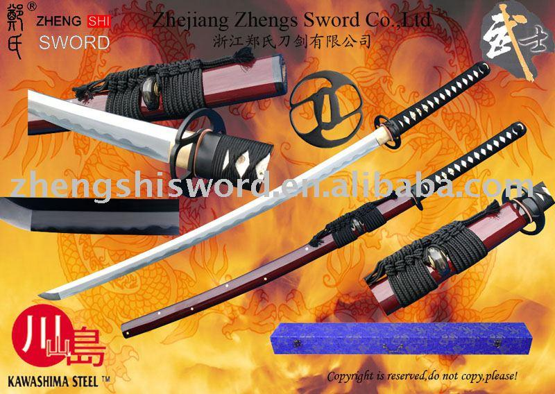 Handmade Clay-Tempred Wined-Red Saya Sword